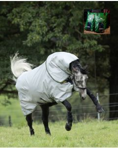 Rambo Duo Bundle med 100G & 300G linere fra Horseware - Grey/Teal, Gold and Navy