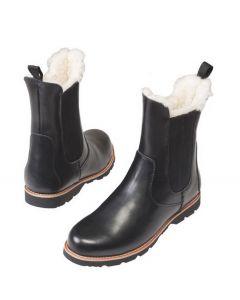 Kørestøvler i læder med lammeskind Wahlsten